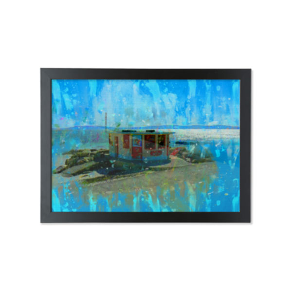 Wall Art Poster of Ice Cream Kiosk, Salthill Prom, Galway on the Shore Of Galway Bay, Ireland. Museum quality A4 or A3 Bamboo Parer Art Print with optional Black Wood Frame. Exclusive To ShopStreet.ie, Ireland