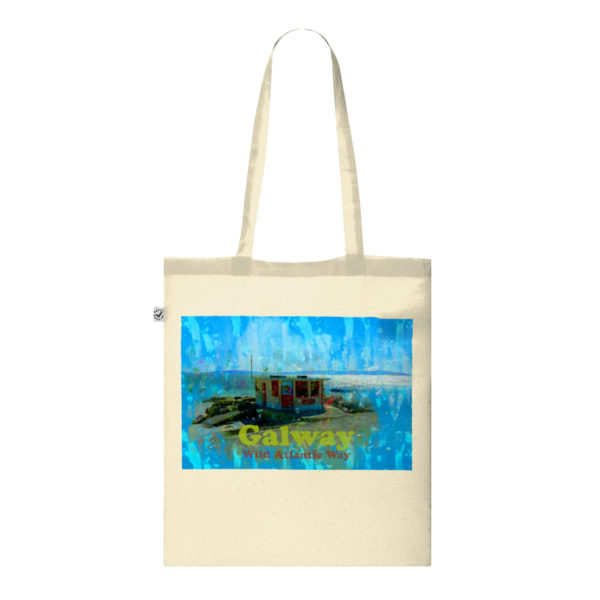 Galway Shopping Bag. Ice Cream Kiosk on The Salthill Prom, Galway, Ireland, Shopping Tote Bag. Exclusive Tote Bag Design Gift. 100% plastic-free packaging