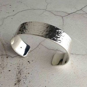 Handmade Silver Bangle with Sapphires & Personalised Engraving. Silver & Sapphire Personalised Womans Bangle Handmade In Hallmarked Hammered Silver.
