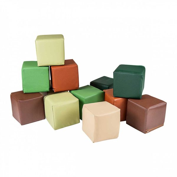 Foam Construction Blocks For Children - 12 Play Blocks 15x15cm for Toddlers, Kids, Children, Bed Room, Nursery, Public Play Spaces & More. Ships to Ireland Direct.