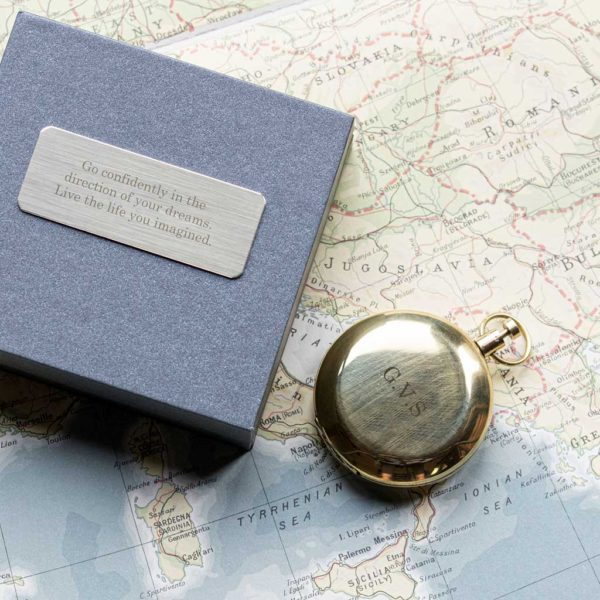Brass Compass with Personalised Initials in Engraved Gift Box. Compass personalised with four initials free engraving & gift box personalised with 75 characters. Shipped direct to Ireland.