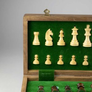 Personalised Chess Set: Chess Set Personalised with Free Engraving, Handcrafted in Sustainable Wood featuring Vintage Style Brass Detailing engraved with up to 40 Letters.