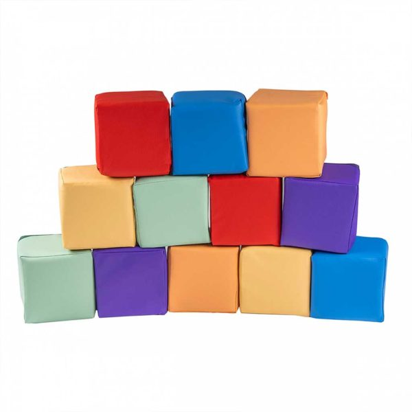 Large Foam Building Blocks For Kids - 12 Colourful Play Blocks 15x15cm for Toddlers, Kids, Bed Room, Nursery, Public Play Spaces & More. Removable Zip Covers. Shipped direct to Ireland