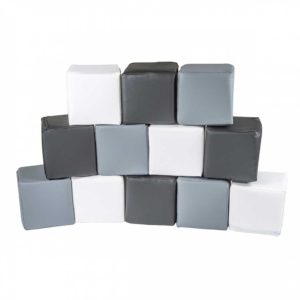 Large Play Building Blocks For Kids in Black, White & Grey - 12 Play Blocks 15x15cm for Toddlers, Kids, Children, Bedroom, Nursery, Play Spaces. Ships to Ireland Direct.