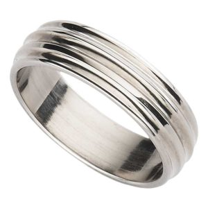 Handmade Men's Titanium Wedding Ring with Multi Groove Design in Satin or Polished finish. Made To Order Titanium Wedding Ring with Personalised Engraving - on ShopStreet.ie Ireland