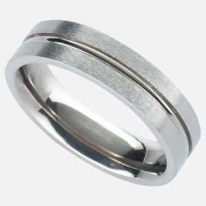 Handmade Men's Satin Finish Titanium Wedding Ring with Central Polished Concave Groove. Made To Order Titanium Wedding Ring with Personalised Engraving.