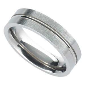 Handmade Men's Satin Finish Titanium Wedding Ring with Central Polished Groove. Made To Order Titanium Wedding Ring with Personalised Engraving.