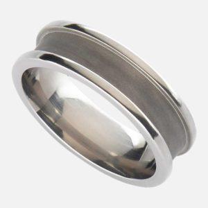 Handmade Men's Titanium Wedding Ring with Railed Edge Design in Satin or Polished finish. Made To Order Titanium Wedding Ring with Personalised Engraving on ShopStreet.ie Ireland