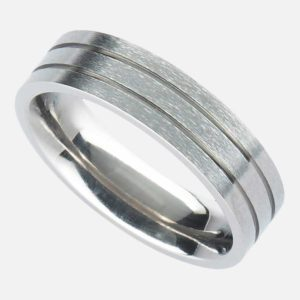 """Men's Personalised Titanium Wedding Ring with """"Twin Groove"""" Design in Satin or Polished finish. Handmade To Order Titanium Wedding Ring with Personalised Engraving. Shipped Direct To Ireland by Family Jeweller."""