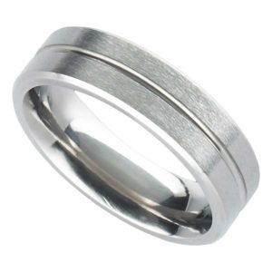 Handmade Men's Titanium Ring with Satin Finish, Polished Central Groove & Bevelled Edge. Made To Order Titanium Wedding Ring with Personalised Engraving
