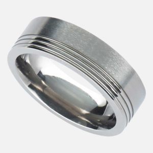 Handmade Men's Titanium Ring with Satin Finish & Polished Offset Grooves. Titanium Wedding Ring with Personalised Engraving Shipped Direct To Ireland.