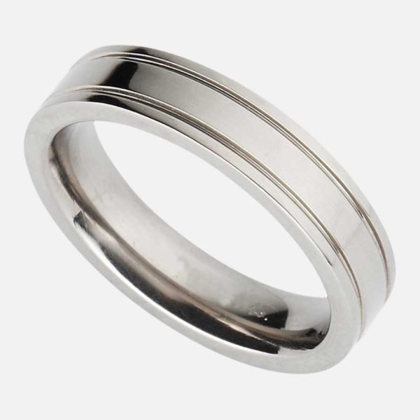 Handmade Men's Titanium Ring with Outer Edge Grooved Design in Polished or Soft Satin Finish. Made To Order Titanium Ring with Personalised Engraving.