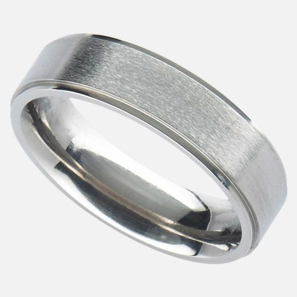 Handmade Men's Titanium Wedding Ring with Polished Stepped Edges in Soft Satin or Polished Finish. Made To Order Titanium Ring with Personalised Engraving