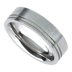 Personalised Men's Titanium Wedding Ring with Twin Offset Fine Grooves in Brushed Satin or Polished Finish. Handmade To Order Titanium Ring with Engraving. Shipped direct to Ireland.