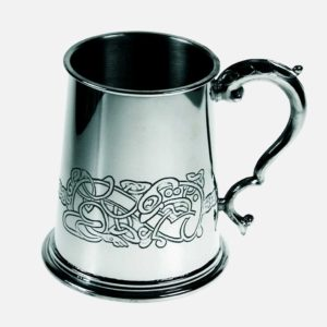 Celtic Dragon Tankard. Handmade Pewter Celtic Tankard with optional Personalised Engraving, Satin Gift Box & Gift Wrapping. Handmade & Engraved To Order. Shipped direct to Ireland.