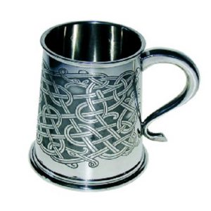 Celtic Knot Tankard. Handmade Celtic Tankard with optional Personalised Engraving, Satin Gift Box & Gift Wrapping. Handmade & Engraved To Order. Shipped direct to Ireland.