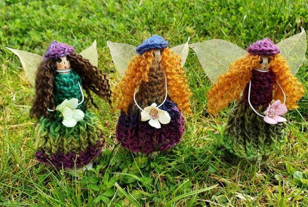 Aromatherapy Fairy with Essential Oils in Personalised Hand Crochet or Donegal Tweed Dress and choice of Hair, Eye Colour & optional Gift Wrap. Ireland.