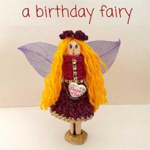 Personalised Birthday Fairy. Handmade Custom Birthday Fairy with Personalised Hair, Eye Colour & Personal Text. Handmade by Donegal Fairies, Ireland.
