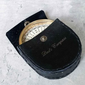 Engraved Brass Compass In Personalised Leather Pouch with Gift Wrapping. Yachtsman, Yachtswoman, Sailor or Traveller Compass Gift with Personalised Engraving. Shipped direct to Ireland.