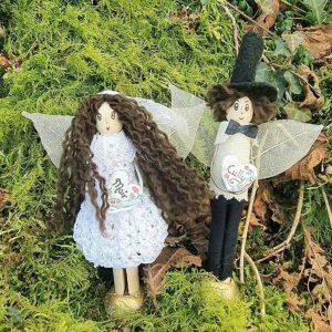 "Personalised Bride & Groom Cake Topper. Custom Peg Doll Fairy Wedding Cake Topper with Bride & Groom Name & Hair. Handmade by ""Donegal Fairies"", Ireland"