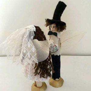 Personalised Bride & Groom Cake Topper. Custom Peg Doll Fairy Wedding Cake Topper with Bride & Groom Name & Hair. Handmade by