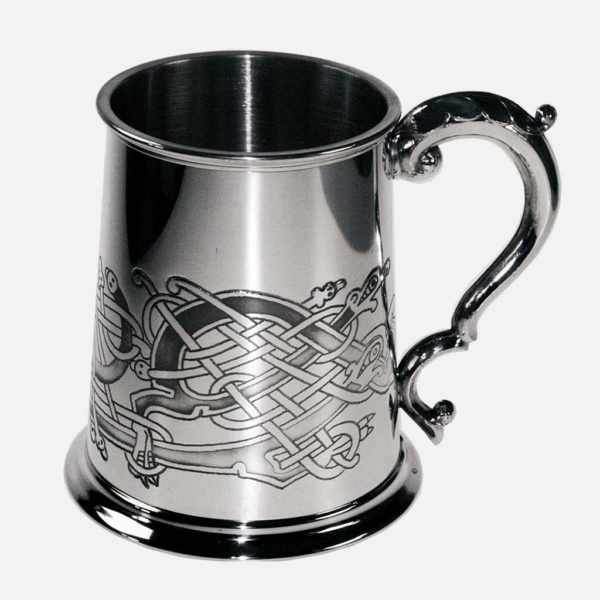 Engraved Celtic Tankard. Celtic Birds Pewter Tankard with optional Personalised Engraving, Satin Gift Box and Gift Wrapping.