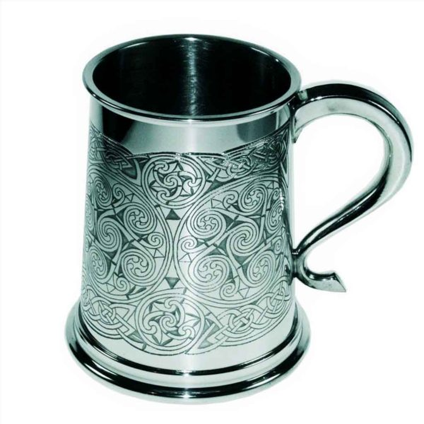 Celtic Spirals Tankard. Handmade Celtic Tankard with optional Personalised Engraving, Satin Gift Box & Gift Wrapping. Handmade & Engraved To Order.