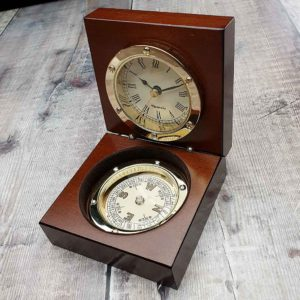 Personalised Compass & Clock In Wooden Case With Free Engraving. Porthole Style Brass Compass & Clock Gift in Polished Wooden Case. Free Personalised Engraving. Shipped direct to Ireland.