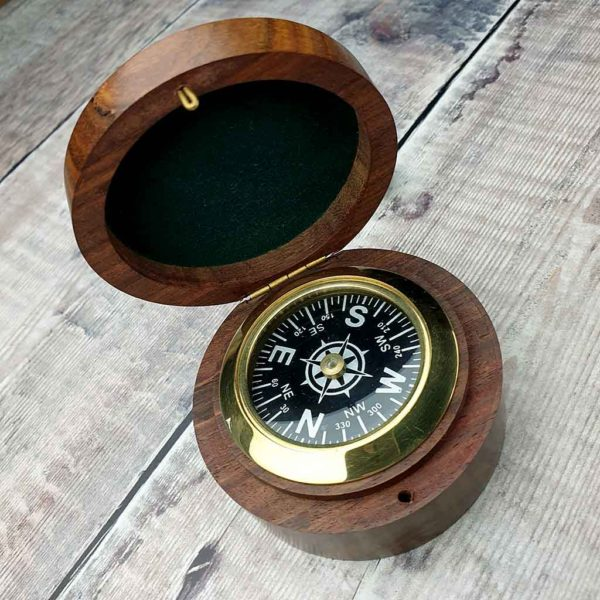 Personalised Brass Compass In Engraved Wooden Box. Compass Gift for Yachtsman, Yachtswoman, Sailor or Traveller with Free Personalised Engraving. Shipped direct to Ireland.