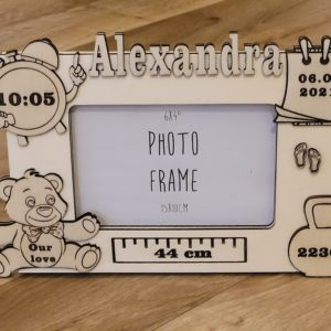 Personalised New Baby Photo Frame handmade to order with Baby Details inc. Name, Birth Time, Birthday, Birth Weight & Length. Photo Frame Handmade In Ireland on ShopStreet.ie Personalised Gifts Ireland