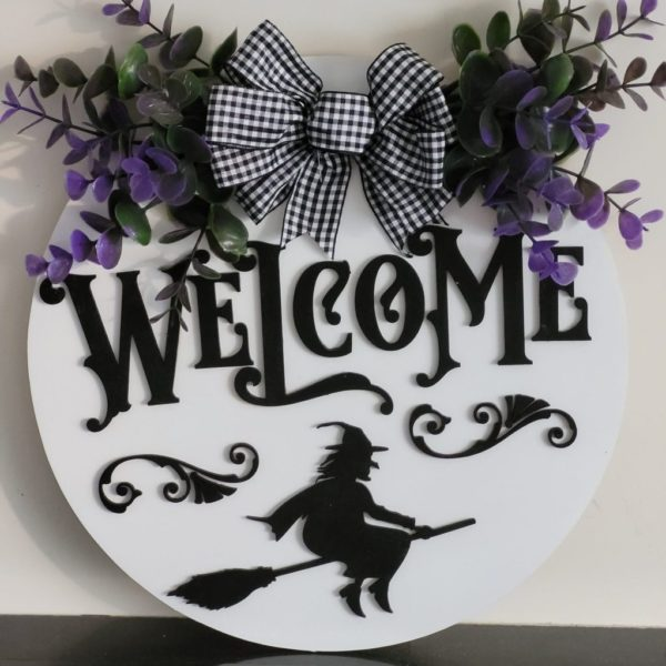 Wooden Halloween Witch Door Sign to Welcome Callers on Halloween. 3D Door Sign Featuring a Hand-Painted Welcome, Witch & Broom. Handmade in Ireland on ShopStreet.ie - Handmade & Personalised Gifts Ireland