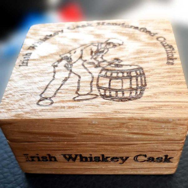 Personalised Irish Cufflinks. Handmade Irish Whiskey Cask Wood Round Cufflinks in Engraved Gift Box. Cufflinks Handcrafted in Galway, Ireland from Whiskey Cask Oak Barrels.