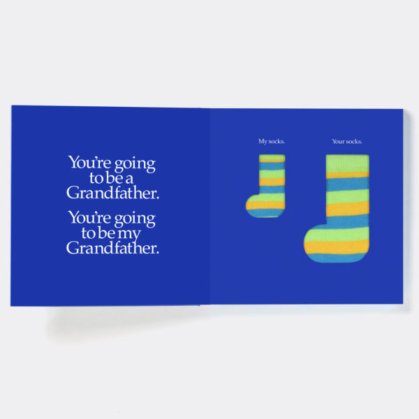 New Grandfather Gift Book & Socks - Perfect Granddad gift to tell your father that they are going to be a Grandfather, with socks gift in back of book.