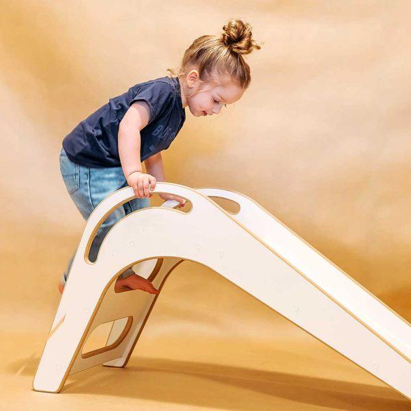 Kids Indoor Slide. Handmade Scandinavian Style White Kids Junior Slide for Bedroom, Nursery, Playroom & House for Children & Toddlers, delivered to Ireland