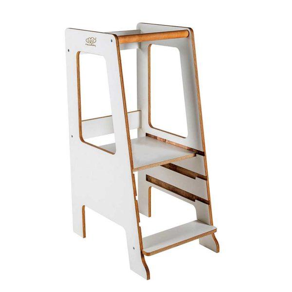 White Kitchen Helper Tower. Scandinavian Style White Kitchen Helper Tower for Children. Adjustable Height to Watch, Learn & Help Mum & Dad. 90x39cm.