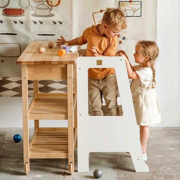 White Kitchen Helper Tower Step Stool. Scandinavian Design Premium White Kitchen Helper Tower for Children. Adjustable Height to Help Mum & Dad.