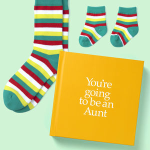 Gift for Aunt Book & Socks - Perfect New Auntie Gift & Personalised Card with Socks for Auntie, Baby, Niece or Nephew. A present shipped from Ireland. On ShopStreet.ie - handmade & Personalised Gifts, Ireland.