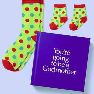Godmother Gift Book & Socks - Perfect Godmother gift to tell him he is going to be a Godparent, with matching socks present for God Mother & Baby, from Ireland. On ShopStreet.ie - Handmade & Personalised Gifts, Ireland