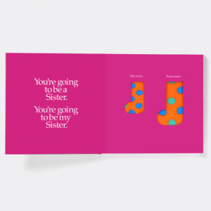 Sister Gift Book & Socks - Perfect Gift for Big Sister tell her she is going to have a sibling, with matching socks present for her & the New Baby, from Ireland. On ShopStreet.ie - Handmade & Personalised Gifts, Ireland.
