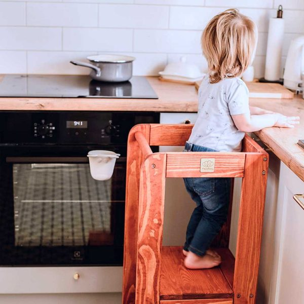 Kitchen Helper Tower. Toddler, Kids & Children Kitchen Helper Montessori Tower in Teak. Adjustable Tower to Watch, Learn & Help Mum & Dad. 90x39cm.