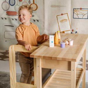 Kids Kitchen Helper. Toddler Kitchen Helper Montessori Tower in Natural Pine Wood. Adjustable Tower to Watch, Learn & Help Mum & Dad. 90x39cm.