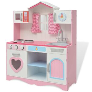 Pink & White Toy Play Kitchen with Windows & Curtains. Toy Kitchen Play Set with Sink & Tap, Cooker Hob, Oven, Microwave, Clock, Press with two-tiered shelf.