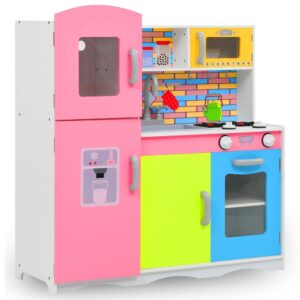 Kids Multicoloured Toy Kitchen featuring Fridge. Toy Kitchen with Kitchenware, Appliances, such as the Cooker, Sink, Taps & Microwave.