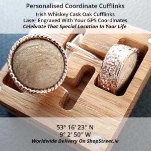 Personalised Coordinates Irish Cufflinks. Handmade Irish Whiskey Cask Oak GPS Cufflinks in Engraved Gift Box, Handcrafted in Galway, Ireland from Whiskey Cask Oak Barrels