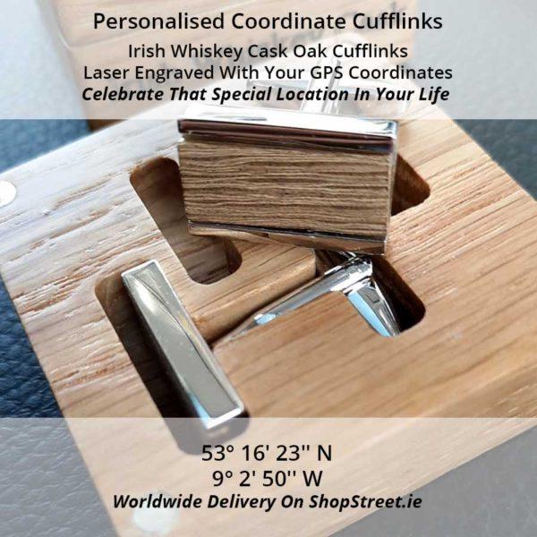 GPS Coordinates Personalised Irish Cufflinks. Handmade Irish Whiskey Cask Oak Cufflinks in Engraved Gift Box, Handcrafted in Galway, Ireland from Whiskey Cask Oak Barrels