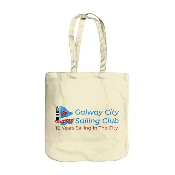 Sailing Club Tote Bag for Sailors with Galway City Sailing Club Logo printed on the Natural Colour Tote Bag. ShopStreet.ie - Logo Branded Tote Bags