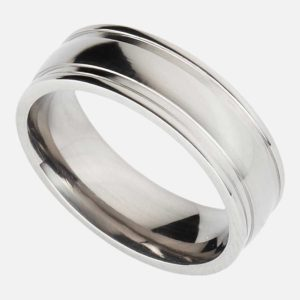 Handmade Personalised Men's Titanium 7mm Ring with Polished Finish, Raised Edges & Center. Titanium Wedding Ring with Personalised Engraving Shipped Direct To Ireland